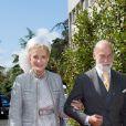 Le prince Michael de Kent et Marie-Christine von Reibnitz, princesse Michael de Kent arrivent au déjeuner le lendemain du mariage du prince Leka II d'Albanie et d'Elia Zaharia au palais royal à Tirana le 9 octobre 2016