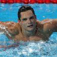 Florent Manaudou, médaillé d'or du 50m nage libre lors des Championnats du monde de natation à Kazan en Russie. Le 8 août 2015