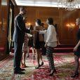 Felipe VI et Letizia d'Espagne ont reçu les lauréats des médailles Princesse des Asturies et des Prix Fin de Cursus de l'Université d'Oviedo à l'hôtel de la Reconquista à Oviedo le 21 octobre 2016.