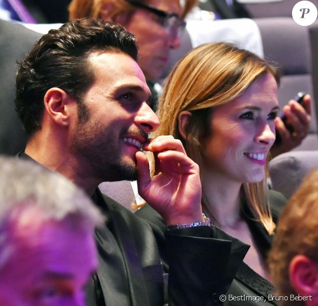 Maxim Nucci (Yodelice) et Isabelle Ithurburu en couple à la cérémonie des Sportel Awards, au Grimaldi Forum à Monaco le 25 octobre 2016. La journaliste de Canal+ faisait partie du Jury du Prix de la Publicité lors de cet événement qui récompense les plus belles vidéos de sport et les plus beaux ouvrages illustrés sur le sport, à Monaco, le 25 octobre 2016. © Bruno Bebert/Bestimage
