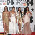 Jade Thirlwall, Perrie Edwards, Leigh-Anne Pinnock et Jesy Nelson du groupe Little Mix - Photocall - Cérémonie des BRIT Awards 2016 à l'O2 Arena à Londres, le 24 février 2016.