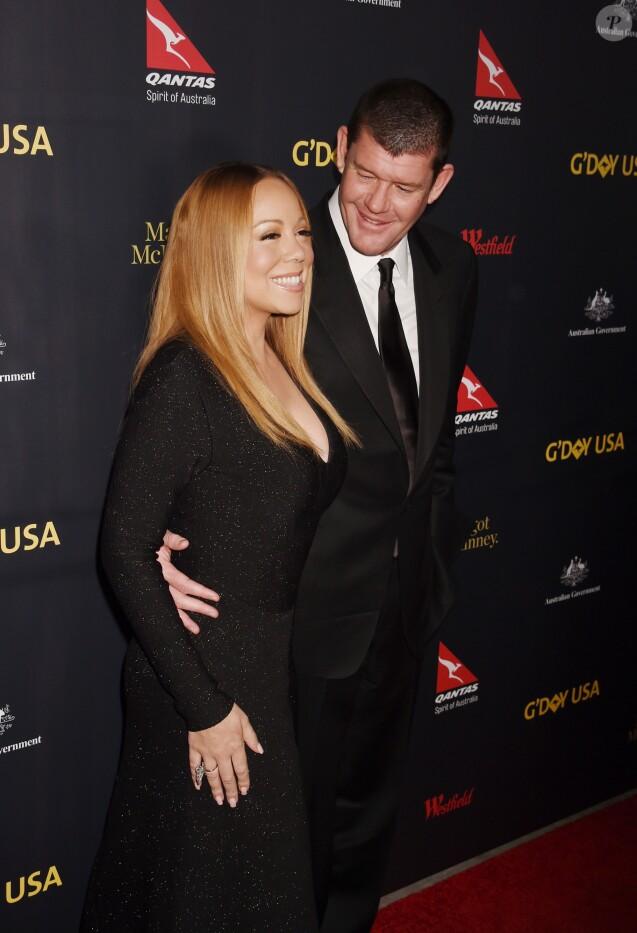 Mariah Carey et son compagnon James Packer - Célébrités arrivant à la soirée G'Day à Los Angeles le 28 janvier 2016.
