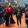 Exclusif - Fahaid Sanober et un manequin - Concours de créateurs de mode à la foire expo de Cherbourg-en-Cotentin sur le thème de l'Irlande dans la Grande Halle de La Cité de la Mer à Cherbourg-en-Cotentin, France, le 31 octobre 2016.