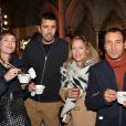 Samir Guesmi et sa compagne Emilie, Caroline Faindt et son compagnon Zinedine Soualem à la soirée de remise des prix du guide Fooding 2017 à la Cathédrale Américaine de Paris le 7 novembre 2016.
