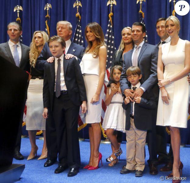 Donald Trump, Donald Trump Jr., Barron Trump, Melania Trump, Ivanka Trump, Tiffany Trump - Donald Trump se déclare candidat à l'investiture républicaine pour la présidentielle de 2016 lors d'une conférence à New York, le 16 juin 2015.