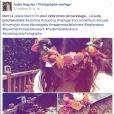 Publication Facebook de la photographe de mariage Anaïs Roguiez. Shooting de mariage tendance automne avec... Tiffany de Mariés au premier regard dans le rôle du mannequin.