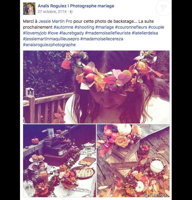 Tiffany de Mariés au premier regard posant pour un shooting de mariage tendance automne, publication Facebook de la photographe Anaïs Roguiez, fin octobre 2016.