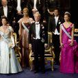 La famille royale à Stockholm le 10 décembre 2008 : Silvia, Madeleine, Carl Gustaf, Carl Philip, Victoria