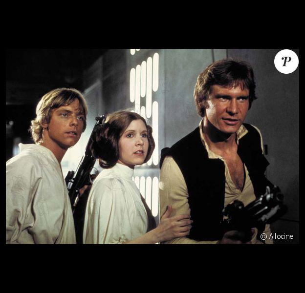 """Mark Hamill, Carrie Fisher et Harrison Ford dans """"Star Wars : Episode IV - Un nouvel espoir (La Guerre des étoiles)"""" en 1977"""