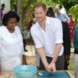 Le prince Harry visite l'école Sir McChesney George sur l'Ile de Barbuda lors de son voyage dans les Caraïbes le 22 novembre 2016.  Prince Harry visits the Sir McChesney George High School, on the island of Barbuda in the Caribbean, as he views how students manage and utilise the natural resources they have access to on an island state, as he continues his tour of the Caribbean.22/11/2016 - Barbuda