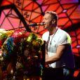 """Chris Martin (Coldplay) sur le plateau de l'émission TV """"Che tempo che Fa"""" à Milan en Italie le 13 novembre 2016."""