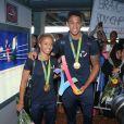 Tony Yoka et sa compagne Estelle Mossely - Arrivées des athlètes des jeux olympiques de Rio 2016 à l'aéroport de Roissy le 23 août 2016.