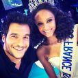 Amir Haddad et Alicia Aylies lors de l'élection de Miss France 2017 le 17 décembre 2016 à l'Arena de Montpellier