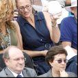 Jay Z, Beyoncé et Mary Pierce assistent à la finale hommes des internationaux de France de Roland Garros le 6 juin 2010.
