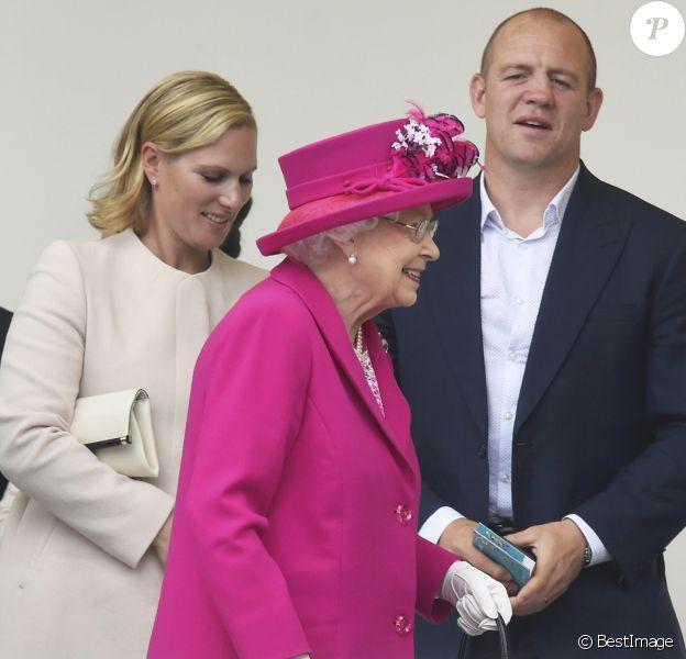 """Zara Phillips, Mike Tindall et la reine Elisabeth II d'Angleterre - La famille royale d'Angleterre au """"Patron's Lunch"""" à Londres, à l'occasion du 90ème anniversaire de la reine. Le 12 juin 2016"""