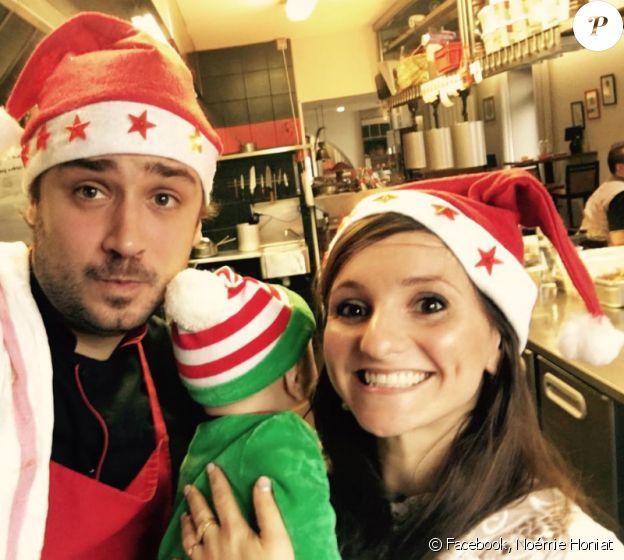 Noémie Honiat et Quentin Bourdy (Top Chef saison 4, en 2013) avec leur bébé Zacharie. Décembre 2016.