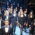 Austin Mahone etles mannequins dudéfilé Dolce & Gabbana à la Fashion Week de Milan. Le 14 janvier 2017.
