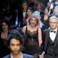 Pyper America Smith, Brandon Lee et les mannequins dudéfilé Dolce & Gabbana à la Fashion Week de Milan. Le 14 janvier 2017.