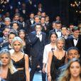 Austin Mahone, Sofia Richie et les mannequins dudéfilé Dolce & Gabbana à la Fashion Week de Milan. Le 14 janvier 2017.