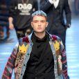 """Rafferty Law, le fils de Jude Law lors du défilé de mode, """"Dolce & Gabbana"""" collection automne hiver 2017/2018 à Milan le 14 janvier 2017.  Man Fashion Week F/W 2017-18 Dolce & Gabbana Catwalk Milan (Italy) 14th January 2017 id 108828_001 not exclusive14/01/2017 - Milan"""