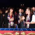 La princesse Stéphanie de Monaco et ses filles Pauline Ducruet et Camille Gottlieb, Stéphane Bern - La famille princière de Monaco lors du 41e Festival International du Cirque de Monte-Carlo, le 21 janvier 2017. © Manuel Vitali/Centre de presse Monaco/Bestimage