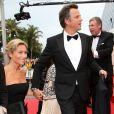 """Anne-Sophie Lapix et son mari Arthur Sadoun - Montée des marches du film """"Macbeth"""" lors du 68 ème Festival International du Film de Cannes, à Cannes le 23 mai 2015."""