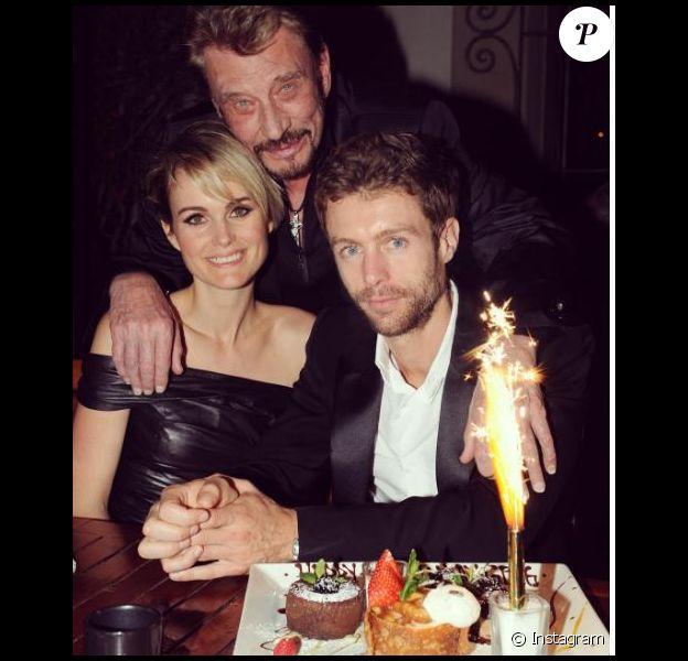 Laeticia Hallyday avec son mari Johnny et son frère Grégory qui fête son anniversaire, à Los Angeles. Instagram, février 2017.