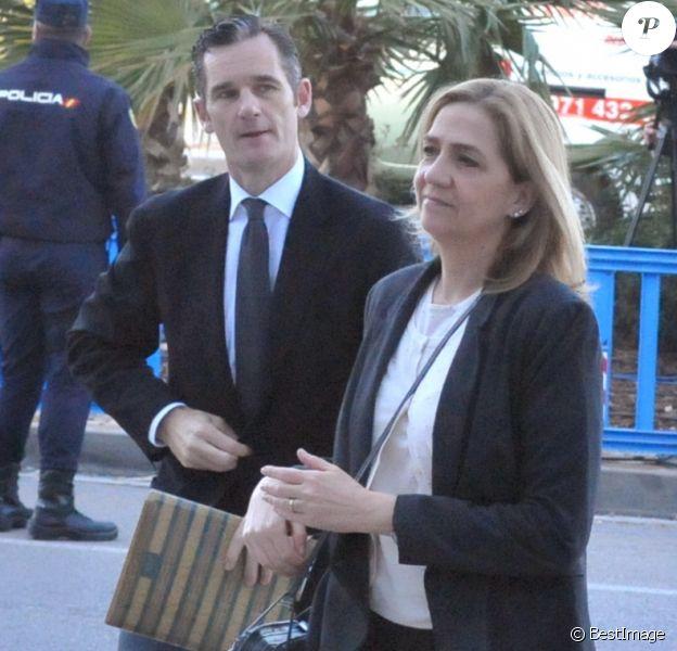 L'infante Cristina d'Espagne et son mari Inaki Urdangarin en février 2016 à Palma de Majorque lors du procès de l'affaire Noos.