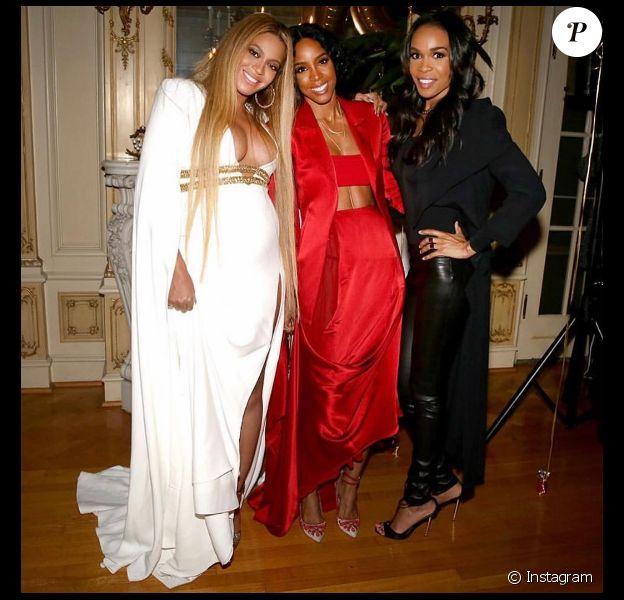 Beyoncé, Kelly Rowland et Michelle Williams reforment les Destiny's Child après la cérémonie des Grammy Awards, à Los Angeles, le 12 février 2017.