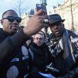 """Mokobé et Lilian Thuram - Manifestation en marge de l'affaire Théo : 2 300 personnes ont manifesté à Paris pour dénoncer """"les violences policières"""" place de la république le 18 février 2017. © Lionel Urman / Bestimage"""