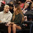 Chris Brown et sa petite amie Karrueche Tran assistent à un match de basket, New York le 20 août 2014.