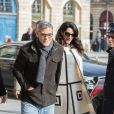 George Clooney et sa femme Amal Alamuddin enceinte (tenue William Vintage) arrivent au Ritz à Paris. Le 25 février 2017