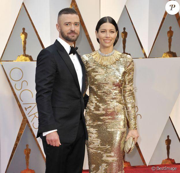 Justin Timberlake et sa femme Jessica Biel lors de la 89ème cérémonie des Oscars au Hollywood & Highland Center à Hollywood, le 26 février 2017. © Future-Image via ZUMA Press/Bestimage