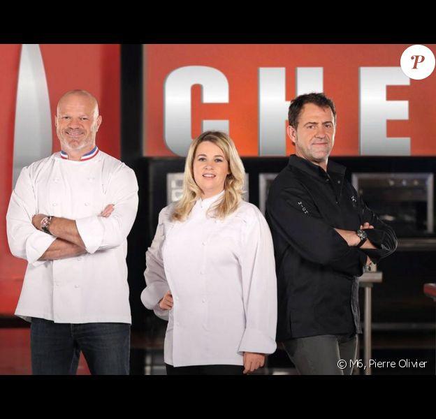 """Stéphane Rotenberg, Jean-François Piège, Philippe Etchebest, Hélène Darroze et Michel Sarran. Animateur et jurés de """"Top Chef""""."""