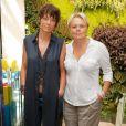 Anne Le Nen et sa compagne Muriel Robin au tournoi de babyfoot à l'occasion de la 7ème Coupe du monde de football féminin au village by CA (Crédit Agricole) à Paris. Le 8 juin 2015