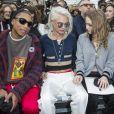"""Pharrell Williams, Cara Delevingne et Lily-Rose Depp- Défilé de mode """"Chanel"""" collection prêt-à-porter Automne-Hiver 2017/2018 au Grand Palais à Paris, France, le 7 mars 2017. © Olivier Borde/Bestimage"""
