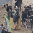 """Emilia Clarke , Peter Dinklage, Kit Harington et Iain Glen sur le tournage de la série """"Game of Thrones"""" saison 7 à Zumaia dans le nord de l'Espagne, le 27 octobre 2016."""
