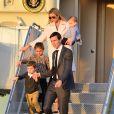 Ivanka Trump avec son mari Jared Kushner et leurs enfants Arabella Rose, Joseph Frederick et Theodore James arrivent à l'aéroport de Palm Beach à bord d'air force one avec le premier ministre japonais Shinzo Abe et sa femme Akie Abe à Palm Beach le 10 février 2017
