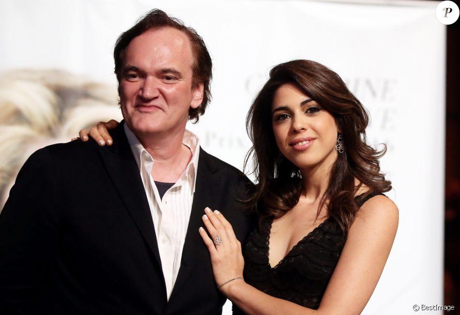Quentin Tarantino et sa compagne Daniela Pick - Photocall de la cérémonie du Prix Lumière lors du 8ème Festival Lumière à Lyon. Le 14 octobre 2016