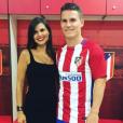 Kevin Gameiro avec sa femme Lina dans le vestiaire de l'Atletico Madrid après son arrivée au club, photo Instagram 2016.