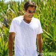 Roger Federer et sa femme Miroslava Vavrinec (Mirka) profitent d'une belle journée ensoleillée sur une plage à Miami, le 29 mars 2017.