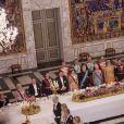 La famille royale de Danemark avec le roi Philippe et la reine Mathilde de Belgique lors de la visite officielle du couple royal belge à Copenhague le 28 mars 2017.