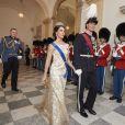 La princesse Marie et le prince Joachim de Danemark le 28 mars 2017 à Copenhague lors du dîner en l'honneur de la visite officielle du roi Philippe et de la reine Mathilde de Belgique.