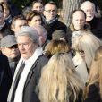 Alain Delon et Mireille Darc aux obsèques de Claude Berri, au cimetière juif de Bagneux, le 15 janvier 2009.