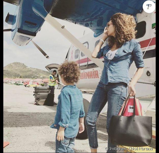 Chloé Mortaud et son fils Matis en vacances à Saint-Barthélemy. Avril 2017.