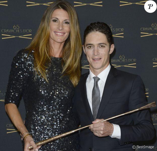 Sophie Thalmann, son mari Christophe Soumillon - 65ème édition des Cravaches d'Or au Théâtre des Champs-Elysées à Paris le 14 mars 2014.