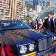 Le prince Albert II de Monaco lors de l'inauguration du salon Top Marques au Grimadi Forum à Monaco. Il a pu y admirer une Bentley incrustée de 2 millions de diamants, une voiture volante Aéromobile et une voiture hélicoptère. Le 20 avril 2017 © J.C. Vinaj / Pool Restreint / Bestimage