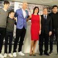 Zinedine Zidane avec sa femme Véronique et ses quatre enfants Enzo, Luca, Elyaz et Théo, Florentino Perez - Zinédine Zidane devient l'entraineur du Real de Madrid et remplace ainsi Rafael Benítez à Madrid en Espagne le 4 janvier 2015
