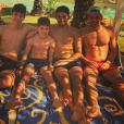 Les quatre fils de Zinedine Zidane en vacances : Enzo, Luca, Elyaz et Théo.