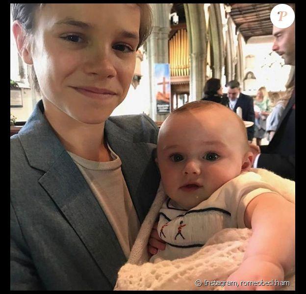 Romeo Beckham lors du baptême de son filleul Otis - Photo publiée sur Instagram le 24 avril 2017